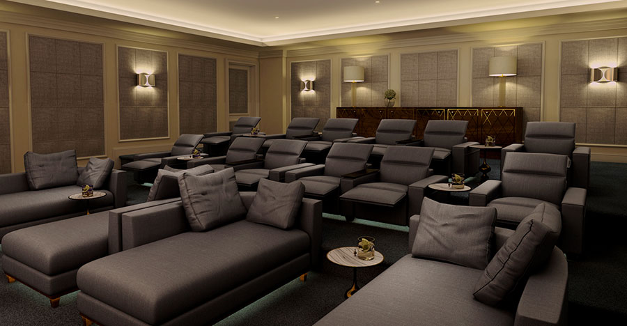 The private cinema theater at The Ritz-Carlton Residences, Amman