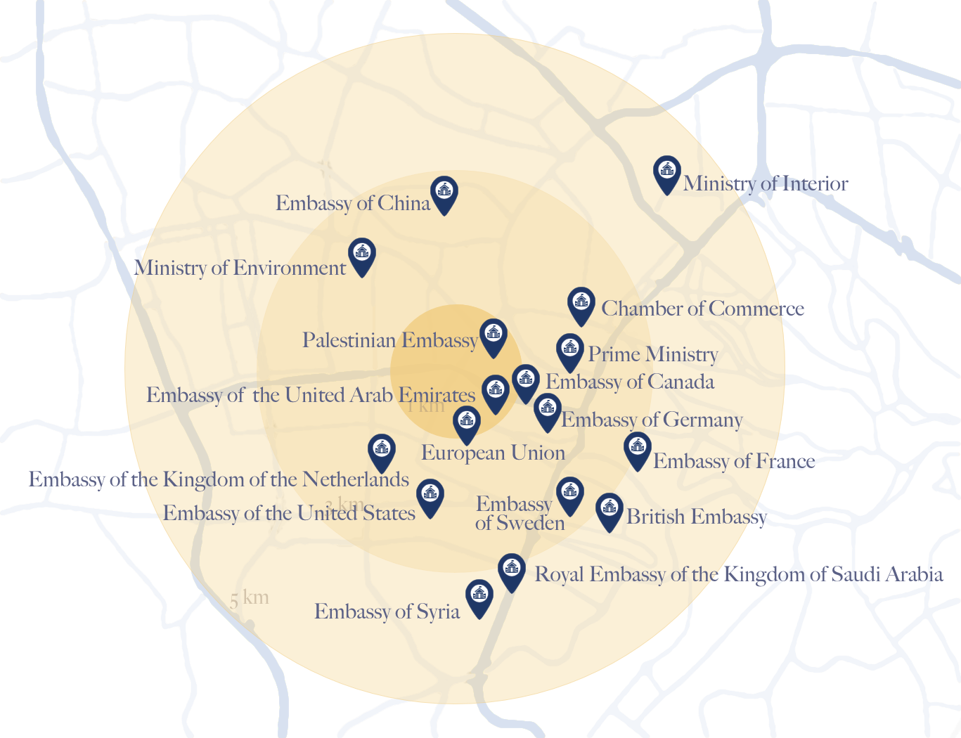 Map of Embassies around The Ritz-Carlton Residences, Amman