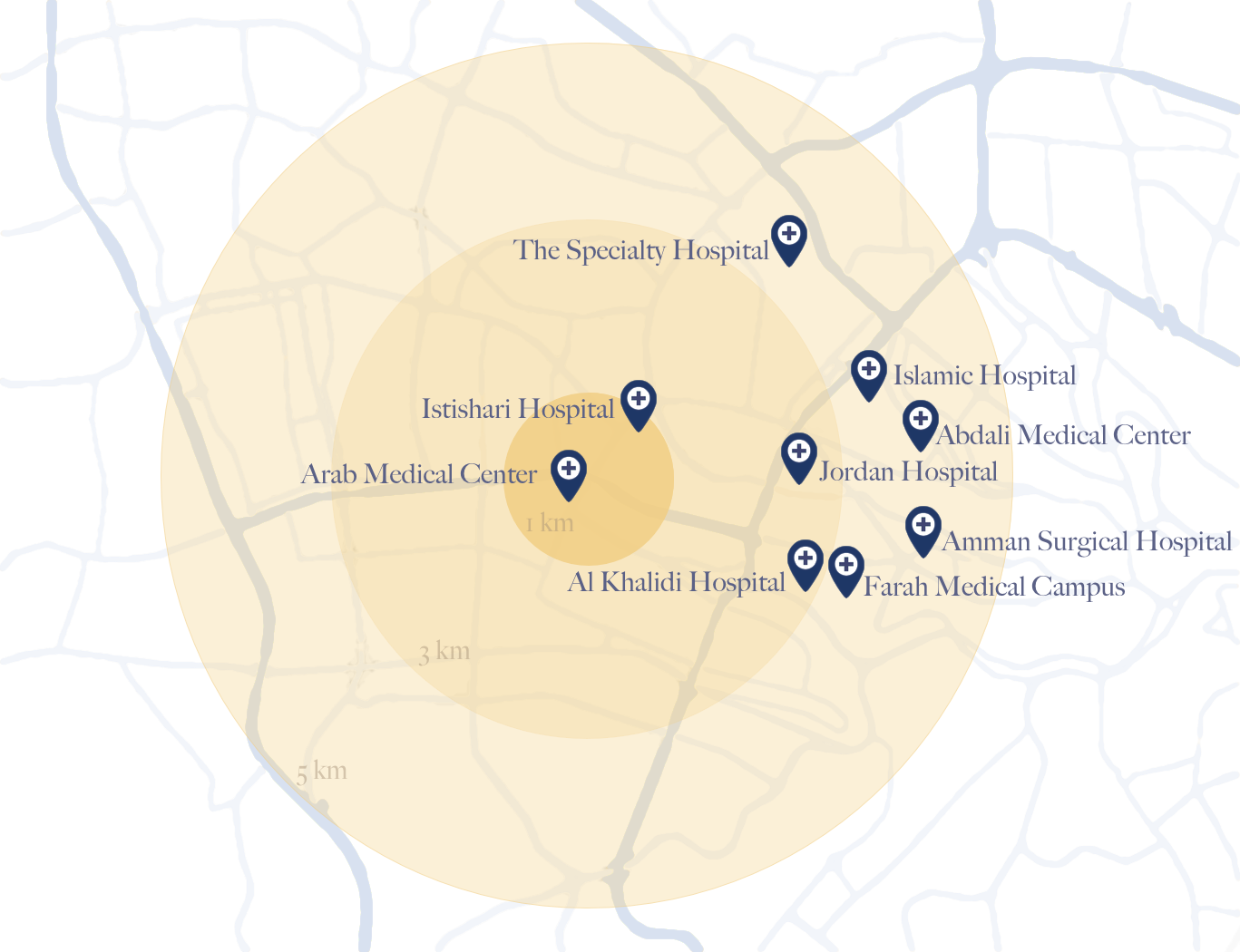 Map of Hospitals around The Ritz-Carlton Residences, Amman