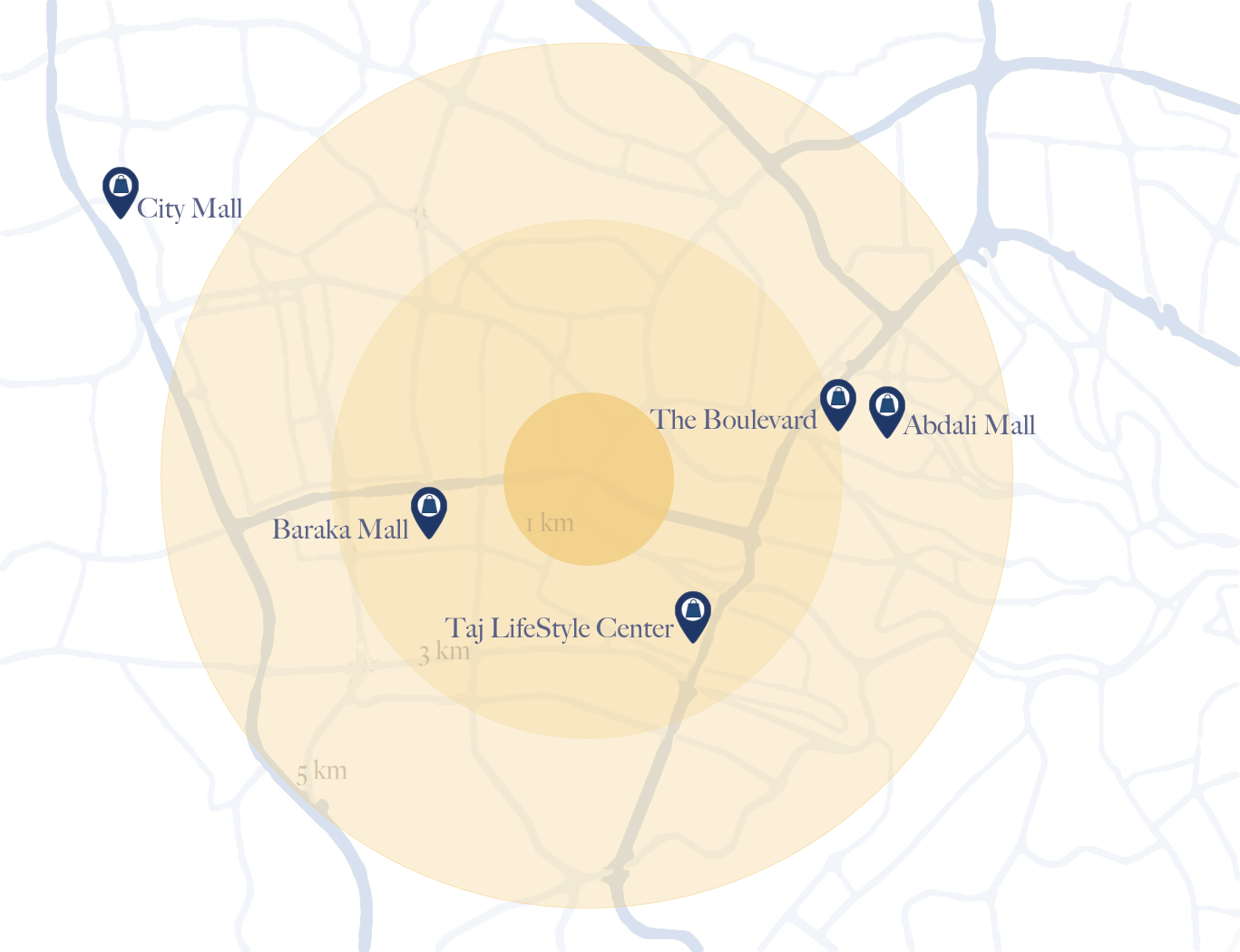 Map of Shopping Centers around The Ritz-Carlton Residences, Amman