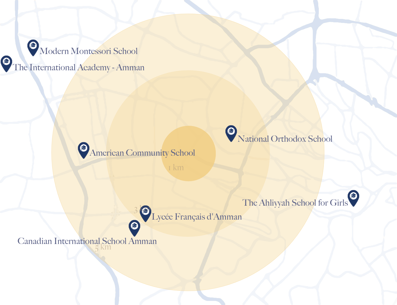 Map of Schools around The Ritz-Carlton Residences, Amman
